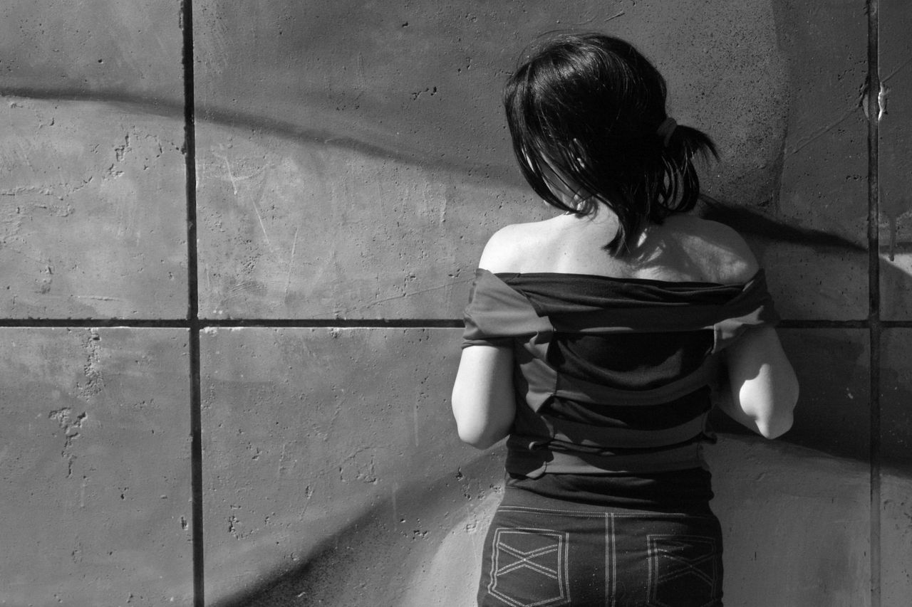 Black And White On The Back One Person People Real People Standing Walls Woman