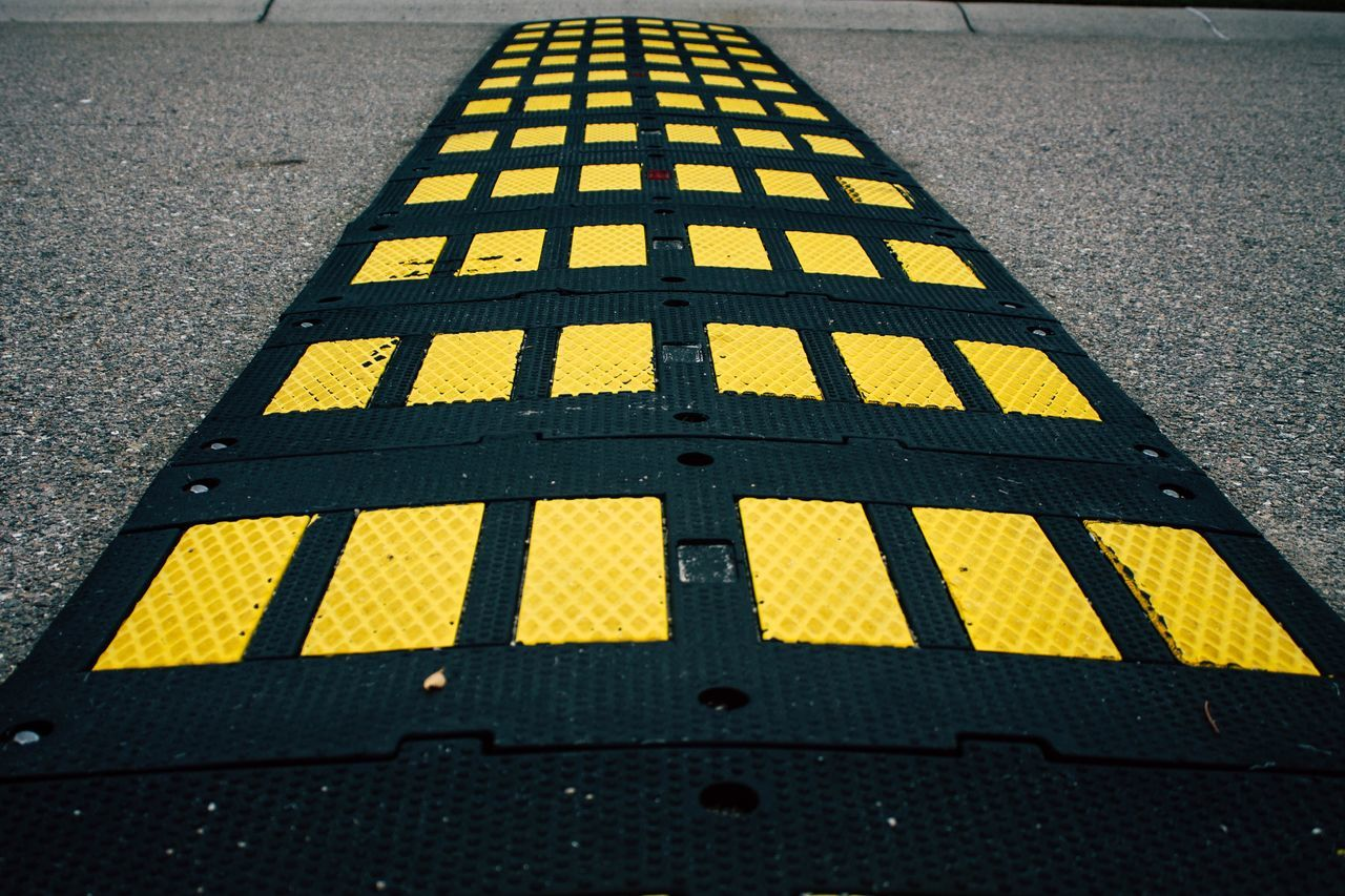 Yellow Urban 2 Yellow Road Day Street Asphalt Outdoors Transportation No People Close-up Speedbump Speed Bump Abstract