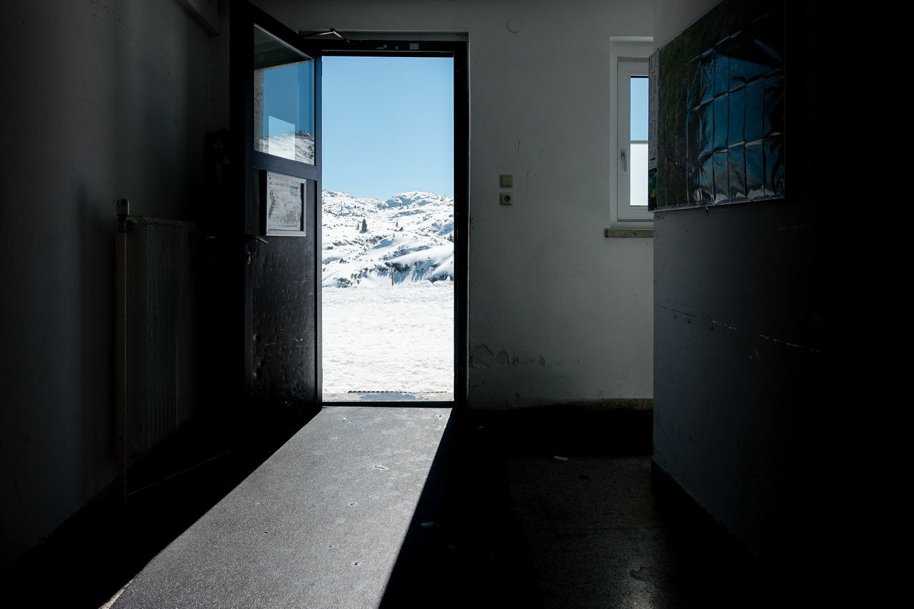 Outlook... Mountain View Blue Outdoors Go Outside Built Structure Door Indoors  Inside Outside No People Outlook Sky Sunlight Window