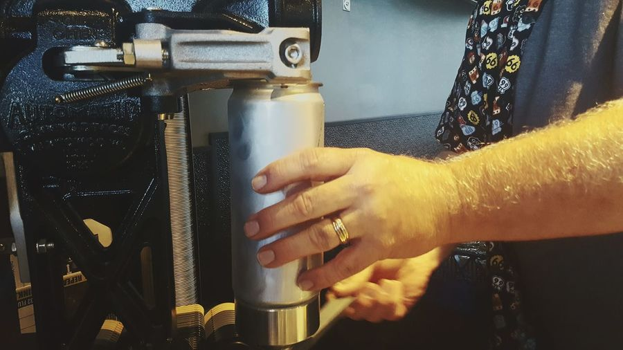 Person Beer Canning Aluminum Fabrication Hands At Work Wedding Ring Man's Arm Profession No Face Inside Alcohol Machine Lid Cold Frosty Color Of Technology Enjoy The New Normal Close Up Technology