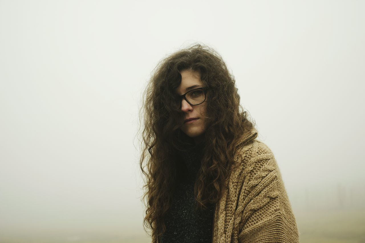 Beauty Canada Curly Curly Hair Curly Hair! Curlyhair Dark Eyeglasses  Fashion Fashion Fog Glasses Hiding Hipster - Person Long Hair Magical Mysterious Mystery Mystical One Person Portrait Portrait Of A Woman Scotland Scottish Warm Clothing