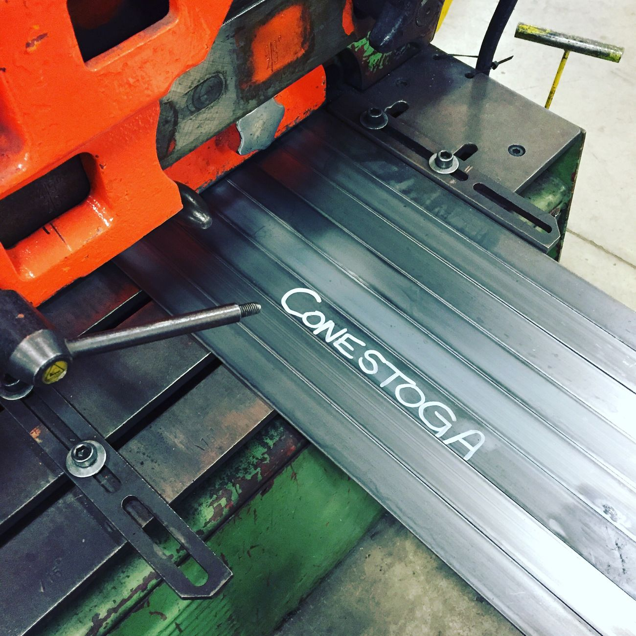 Cutting coupons Conestoga college style Summer Student Weld Shop Fab Shop Mild Steel Ten Gauge Conestoga College