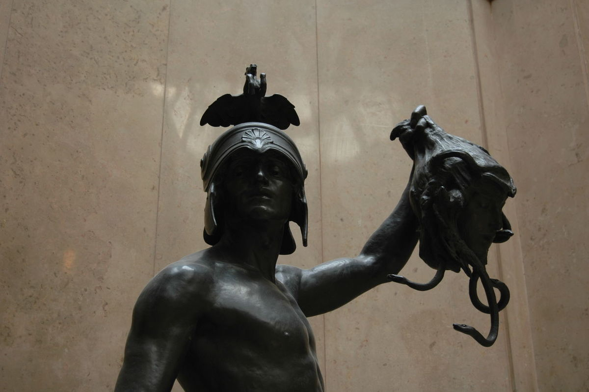 Perseus and Medusa statue in Cardiff Museum. Art Gallery Greece Greek Medusa Museum Myth Mythology Perseus Sculpture