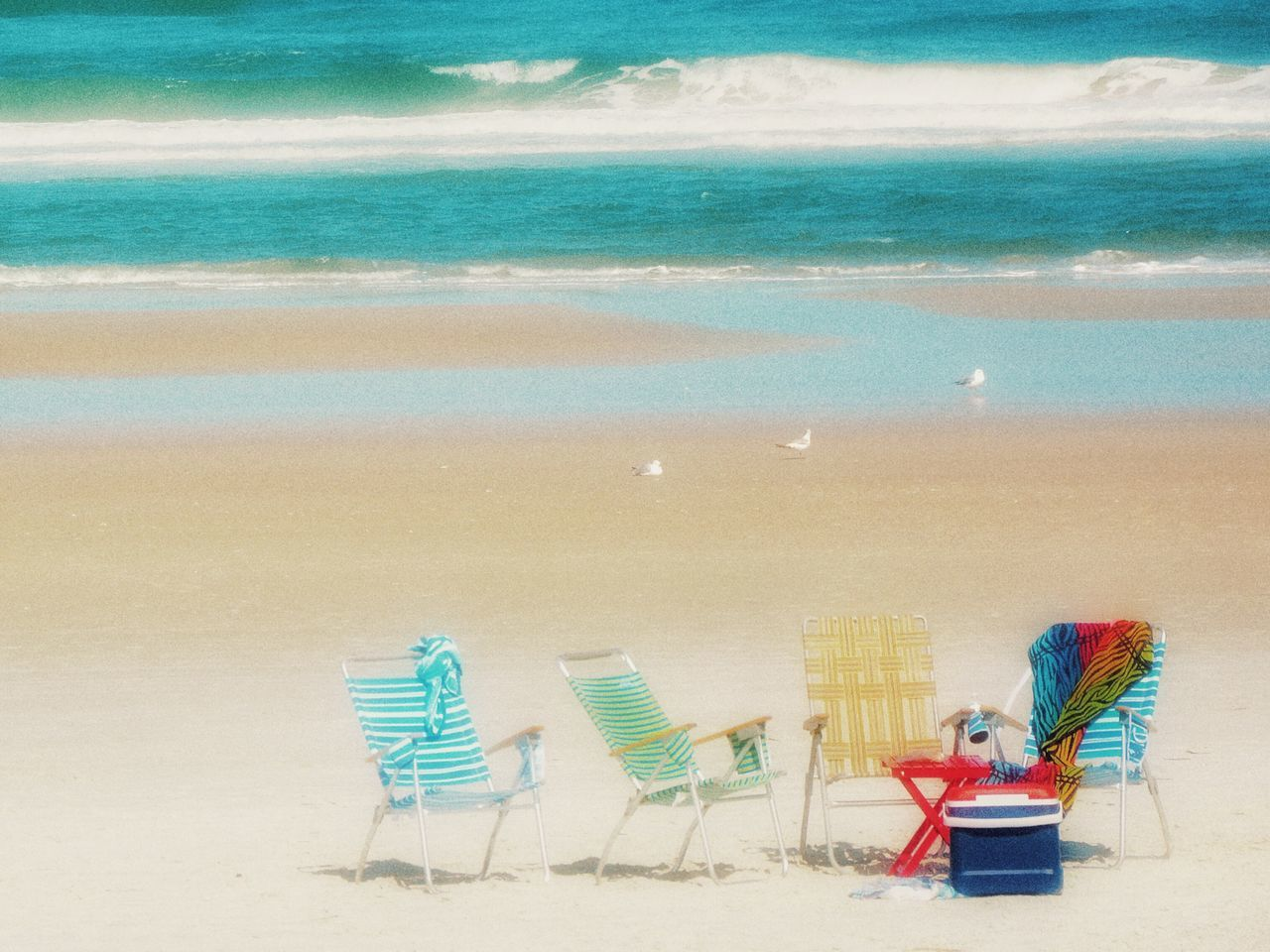Beach Sand Water Deck Chair Shore Horizon Over Water Relaxation Outdoors Tranquility Folding Chair Coastline Scenics Florida Daytona Beach Colors