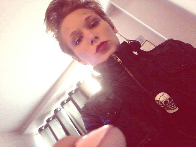 Fashion&love&beauty RockandRoll Punkrock Punkgirls Punk Rock Chick  Punkstyle Red Lips Shorthair Blondehairdontcare Blonde Hair Blue Eyes. First Eyeem Photo
