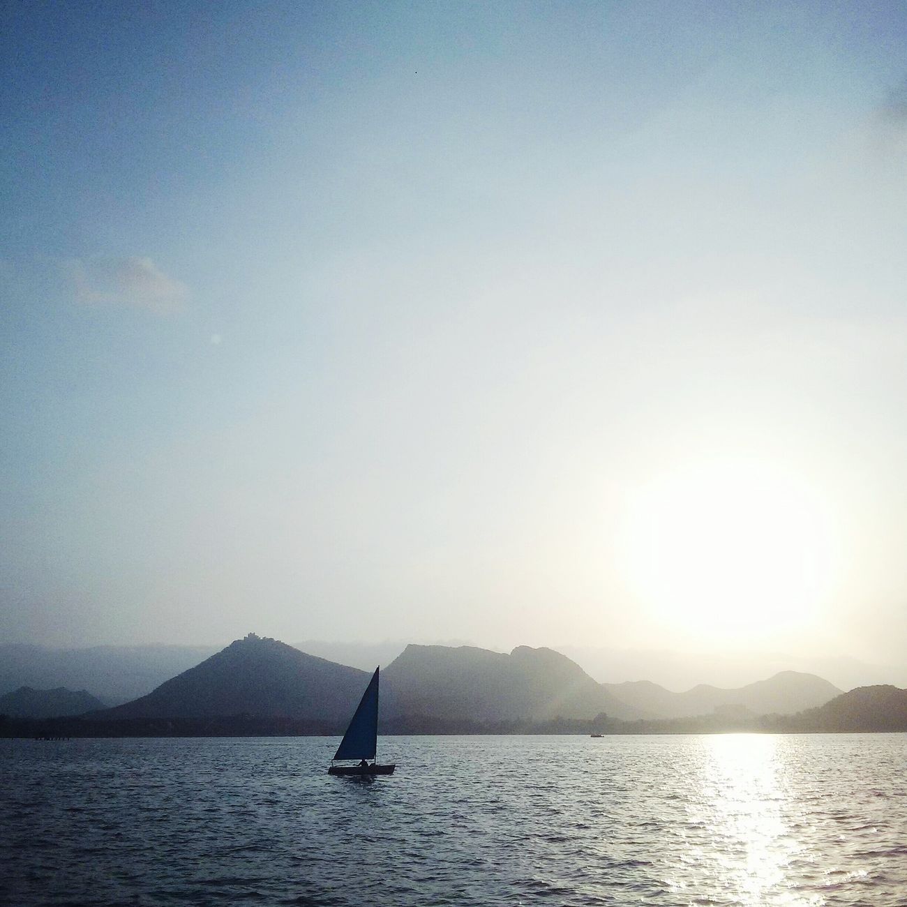 Blue Sky Calm Awesome Sunset Fatehsagar Lake Fatehsagar.