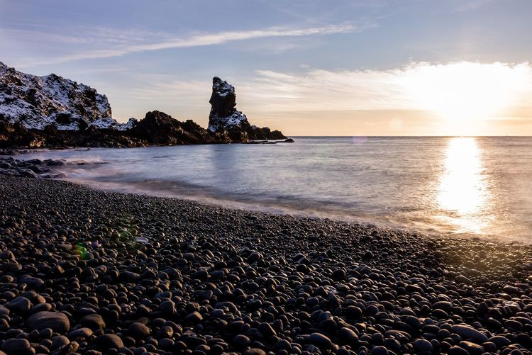 Snæfellsnes in Iceland Betterlandscapes Landscape Black Stones Black Beach Sea Beach Sky Sunset Horizon Over Water Water Rock - Object Nature Beauty In Nature Cloud - Sky Scenics Outdoors No People Wave Day