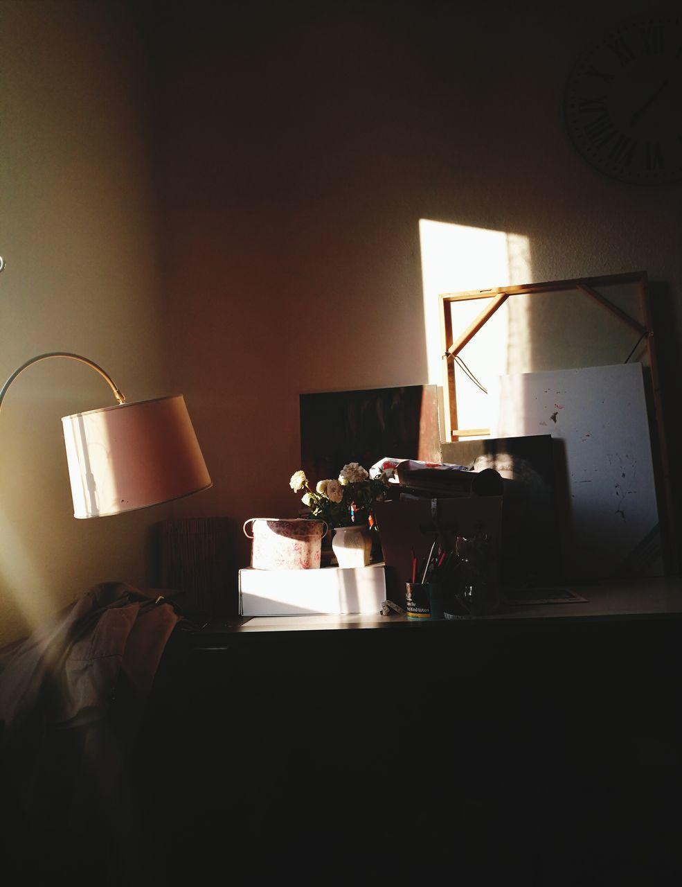 indoors, table, home interior, no people, lamp shade, illuminated, home showcase interior, day