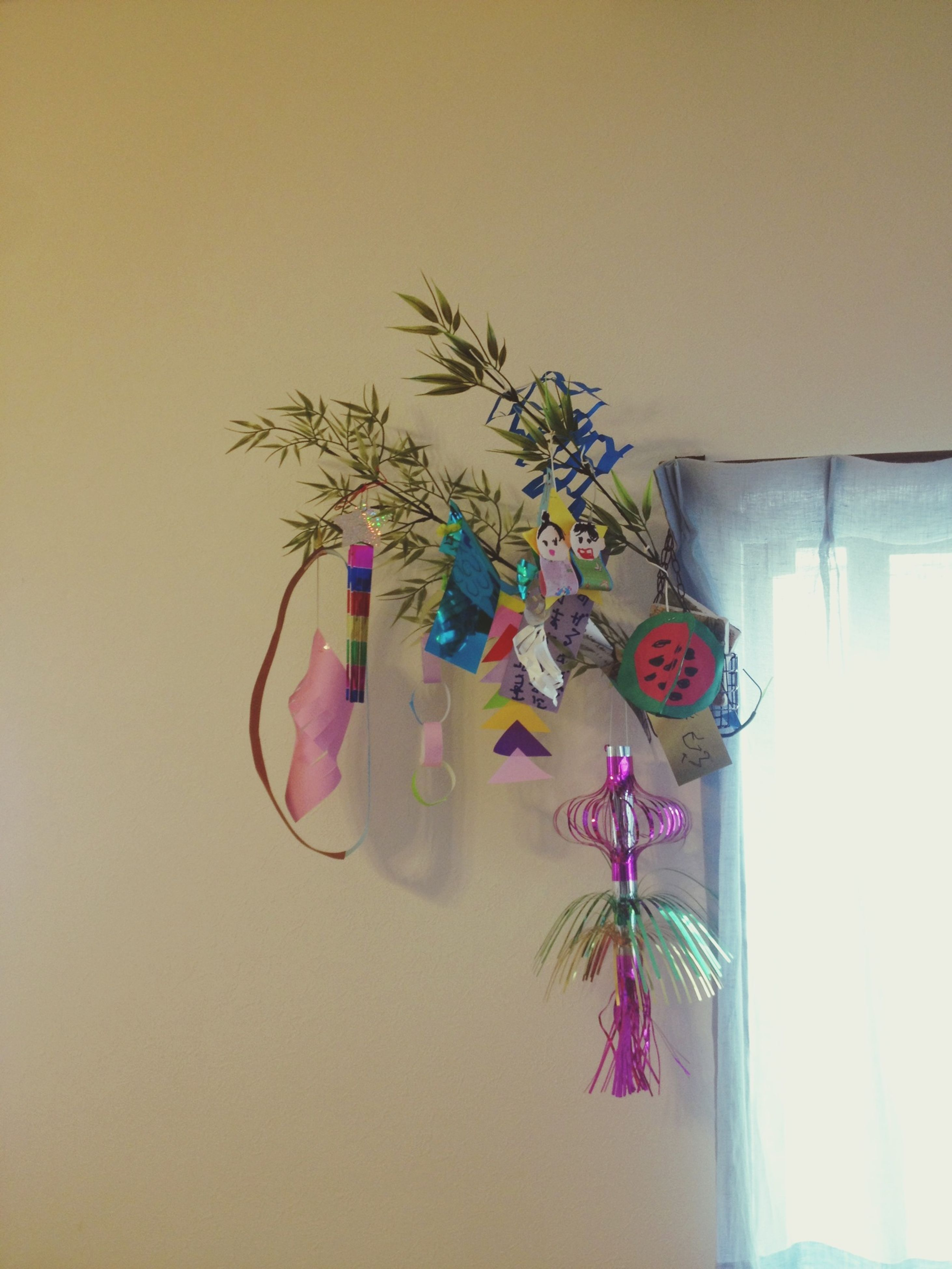 indoors, wall - building feature, decoration, wall, flower, home interior, vase, table, hanging, potted plant, multi colored, copy space, no people, still life, close-up, shadow, creativity, built structure, art and craft, plant