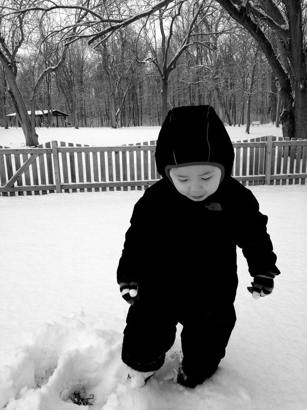 It's Cold Outside Little Boy Outdoors Snow Winter Cold Temperature Bundled Up