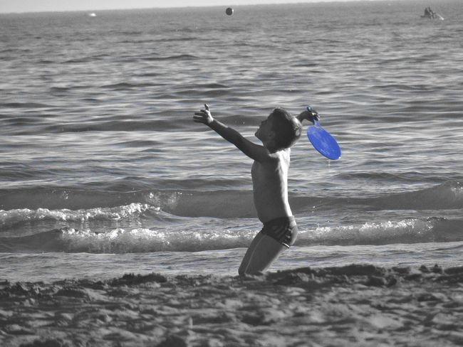 Vacations Sea Wave Beach Summer Water Full Length Leisure Activity Rackets Littleboy Black And White Photography