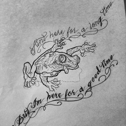 Frog tattoo sketch for my Nana :) GeorgeStrait Georgestraitlyrics Ainthereforalongtimeimhereforagoodtime Frog goofyfrog frogwithtonguehangingout realisticfrog frogwithshadow frogtattoosketch anklesidetattoo tybiatattoo tattooforgrandma funny goofy