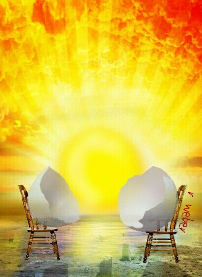 My Original: There was no name for the original by Dali. For my piece, I will call it EggShell by Sunshore Salvador Dali Salvadordali Sunset Eggshells Breakfast Photomanipulation Chairs Art