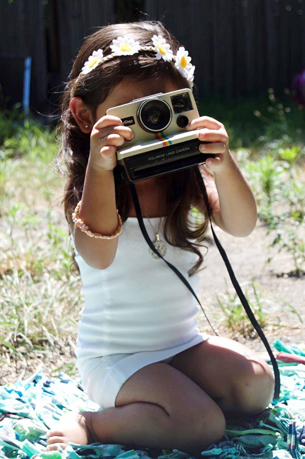 Camera - Photographic Equipment Summer Brown Hair One Person Old-fashioned Photography Themes Beauty Sitting Sunlight Holding Outdoors Fun Day Girl Childhood Flower Nature Grass Fouryearsold Posing Bright Detroit Enjoying Life Long Hair Cutie