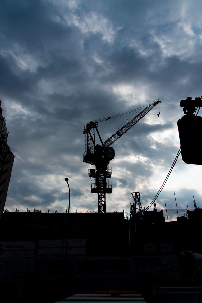 under the cloud Architecture Blue Blue Sky Building Building Exterior Built Structure Cable City Cloud Cloud - Sky Cloudy Construction Construction Site Crane Crane - Construction Machinery Development Grey Low Angle View Nature No People Outdoors Overcast Rei Sky Weather