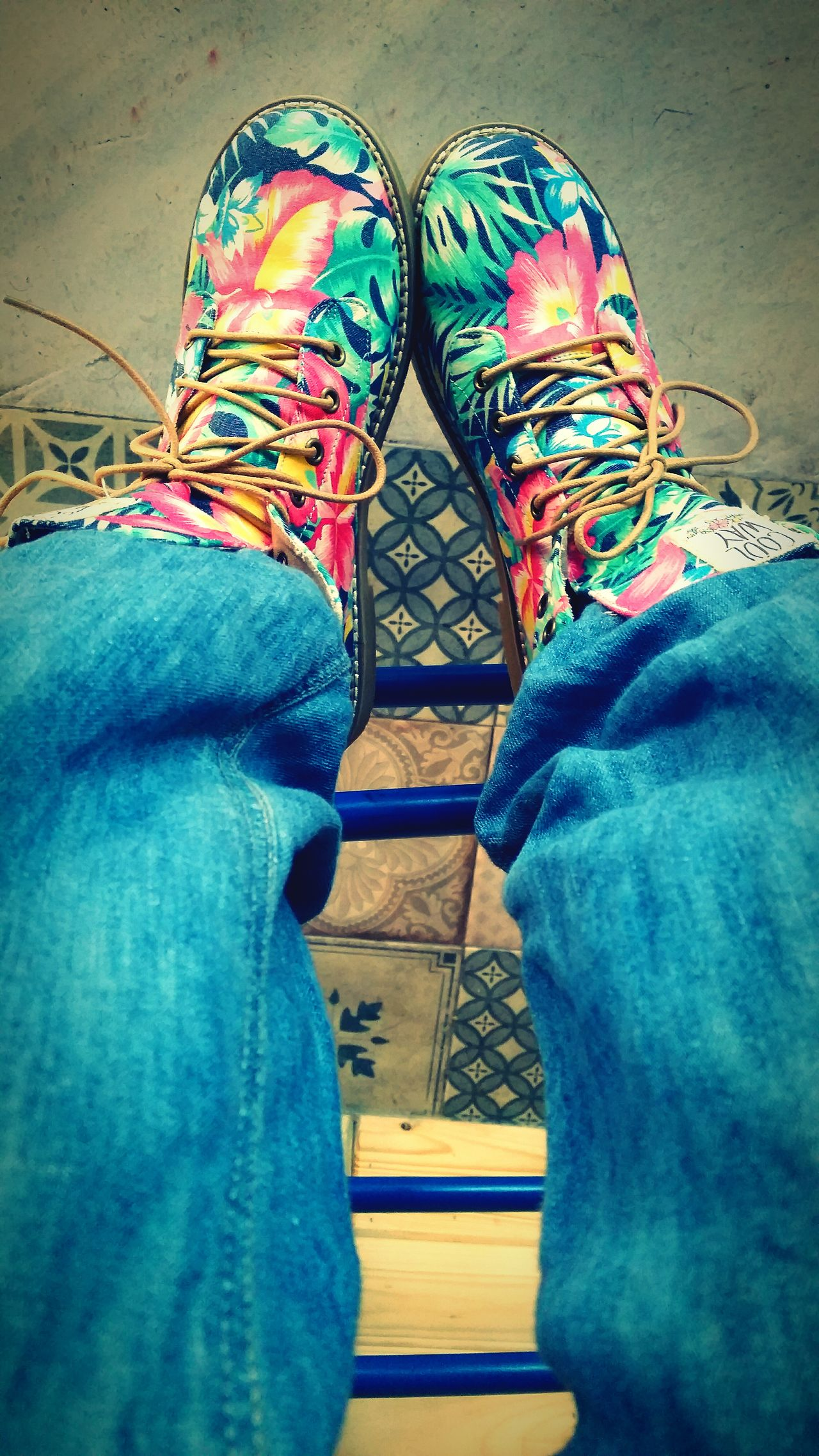 Shoes Crazy Flowers Boots Jeans