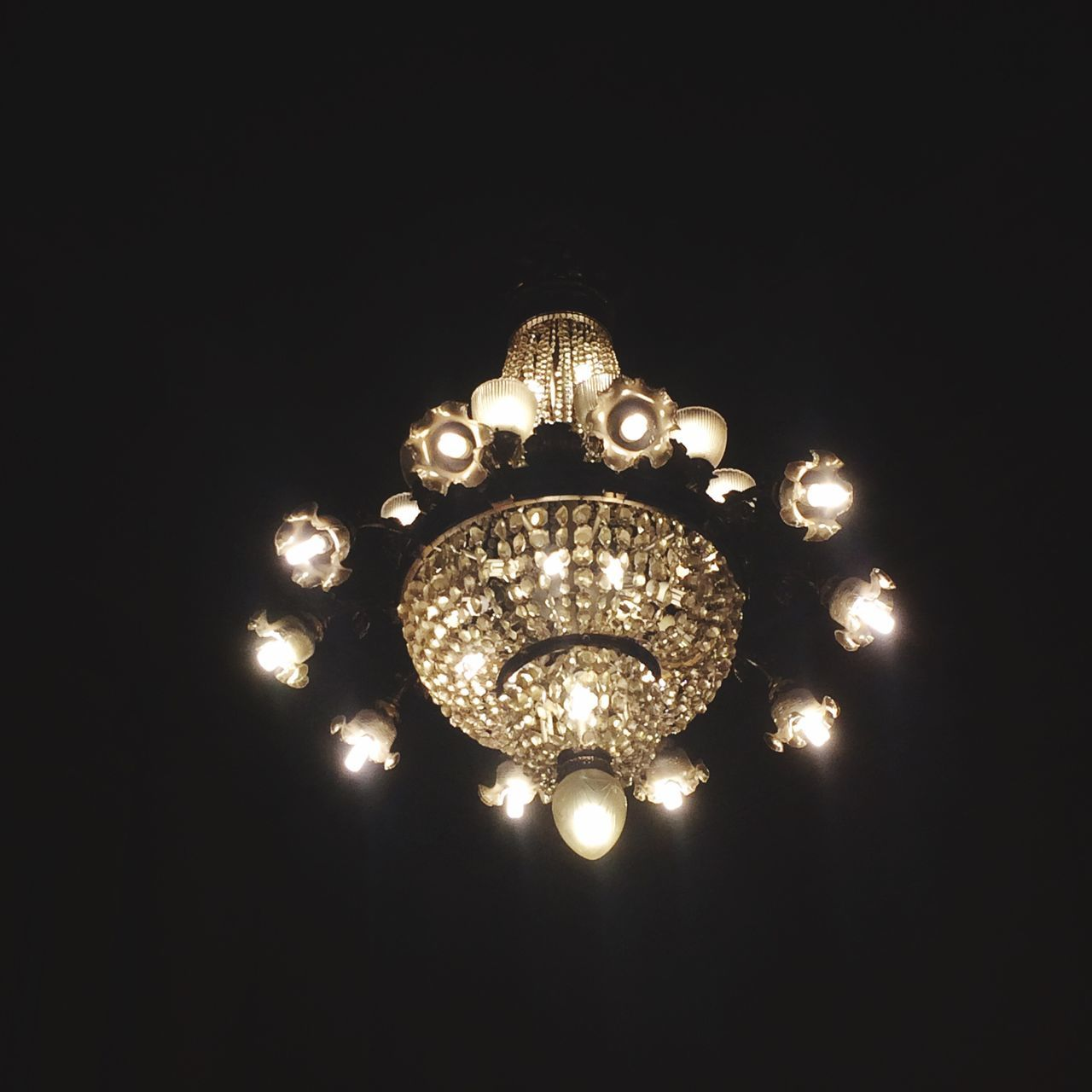 illuminated, lighting equipment, electricity, night, low angle view, no people, glowing, light bulb, black background, hanging, indoors, close-up