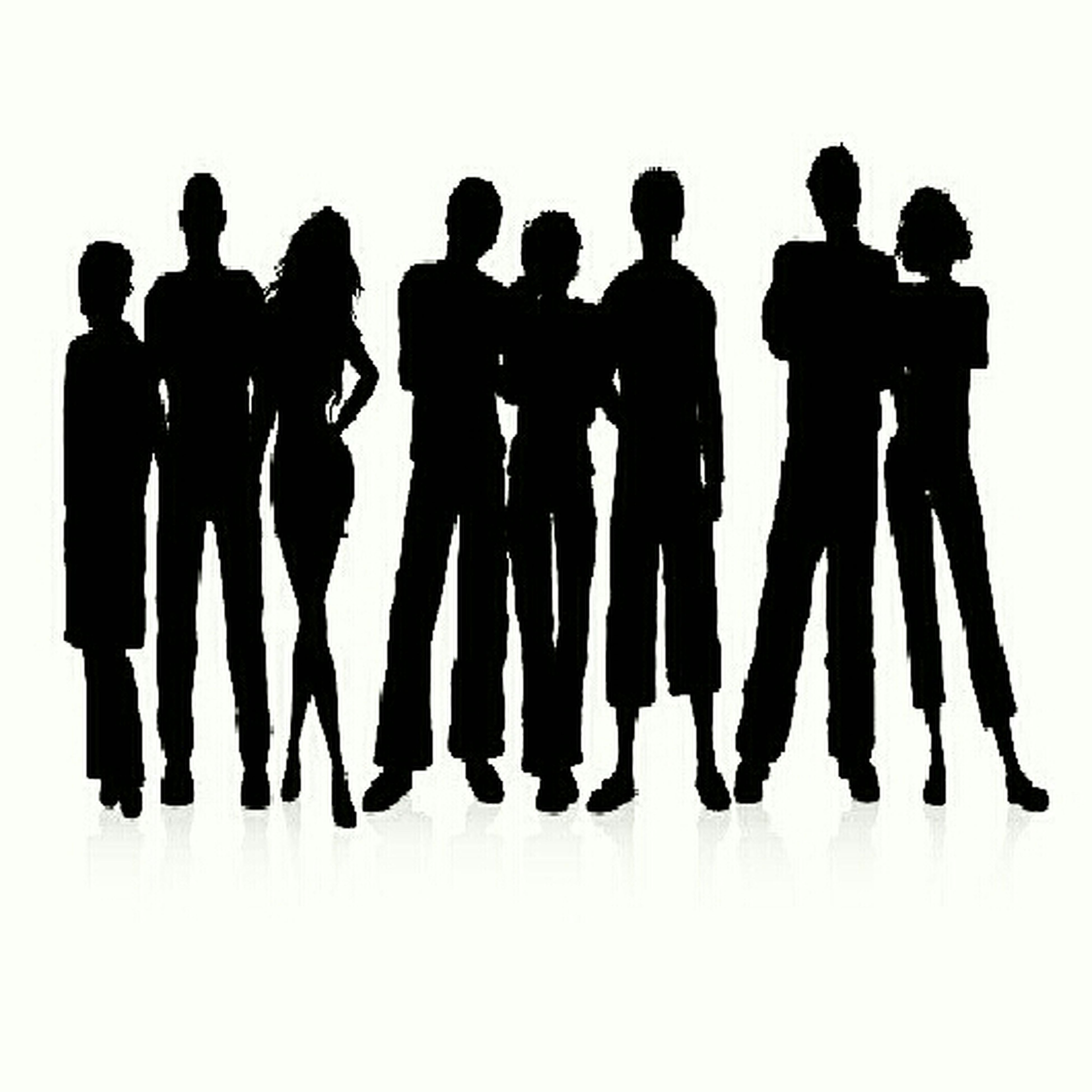 men, togetherness, silhouette, copy space, clear sky, lifestyles, standing, leisure activity, person, side by side, friendship, sky, medium group of people, outdoors, bonding, low angle view