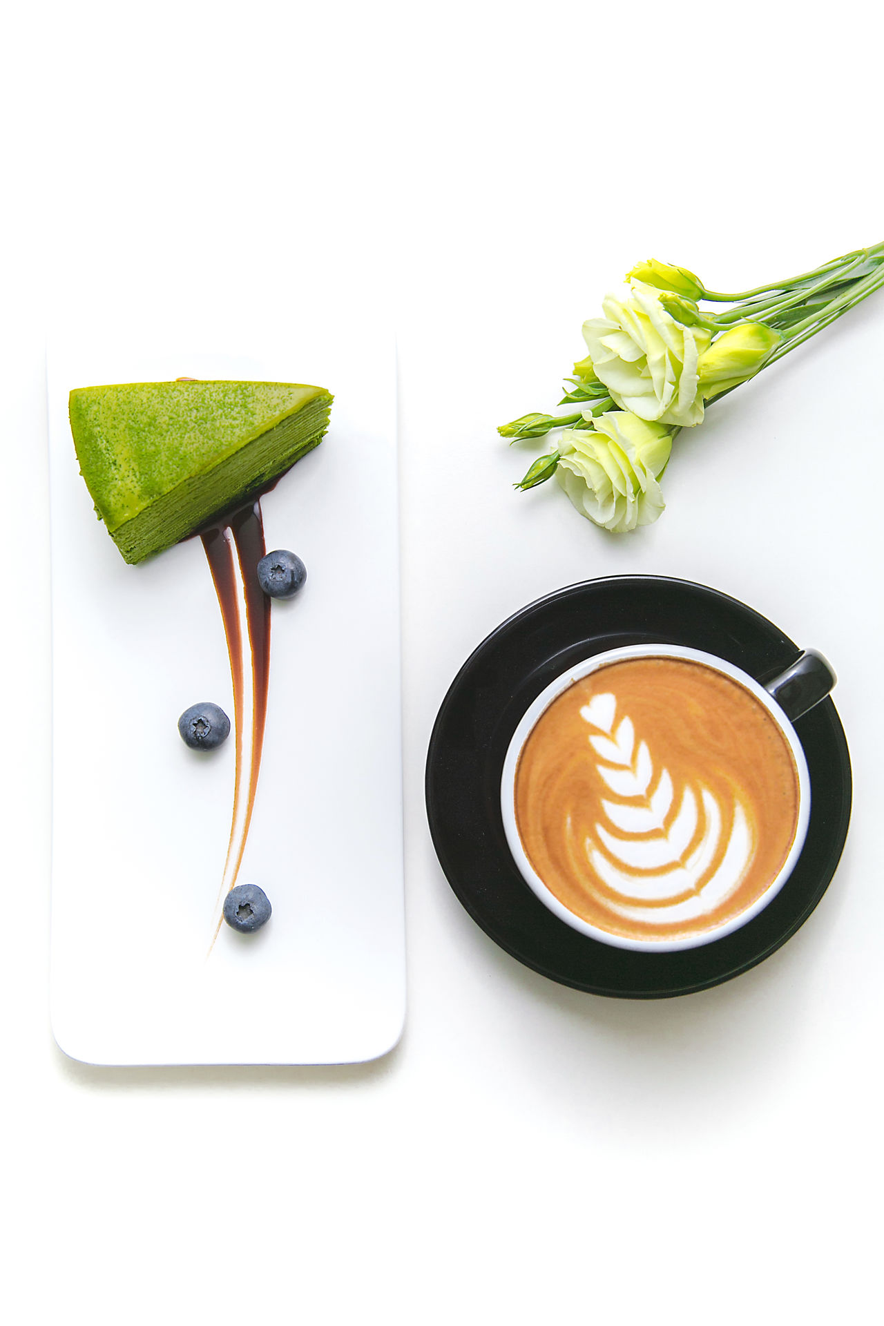 Blue Berries Cakes Close-up Coffee Time Dessert Flower Freshness Green Color Indoors  No People White Background