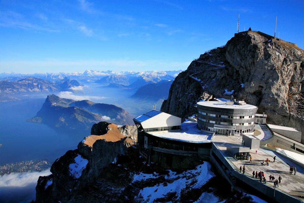 Panoramic view of the Lake Luzern (Shot from the top of Mt. Pilatus) Architecture Astronomy Blue Cold Temperature Europe Glacier Ice Mountain Mountain Peak Mountain Range Night No People Outdoors Scenics Sky Snow Snowcapped Mountain Tourism Travel Travel Destinations Vacations Winter