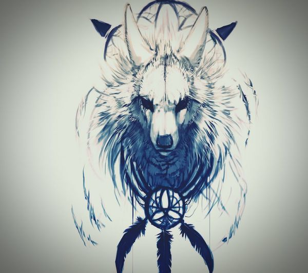 Wolf Wolf Art ArtWork Native Nativeamerican  Tribal Tribal Art Tribalart Edits Tribal Fusion Dreamcatcher