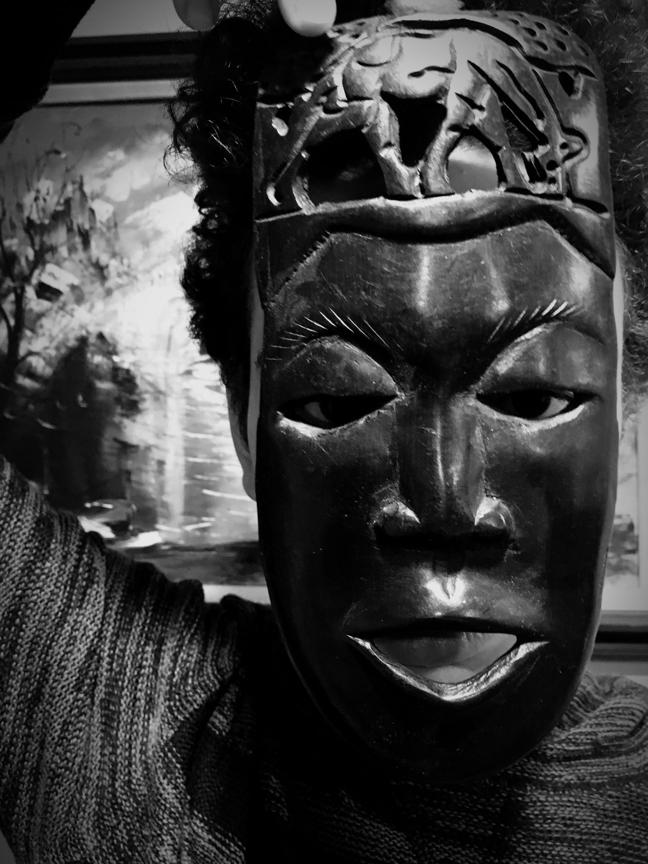 Dark IPhoneography Art ArtWork Human Representation Mask Hidden Black Blackandwhite Photography Form Shadow Gray Face Mask - Disguise Masks Eyes Male Likeness No People Silouette Countenance Africa Darkness