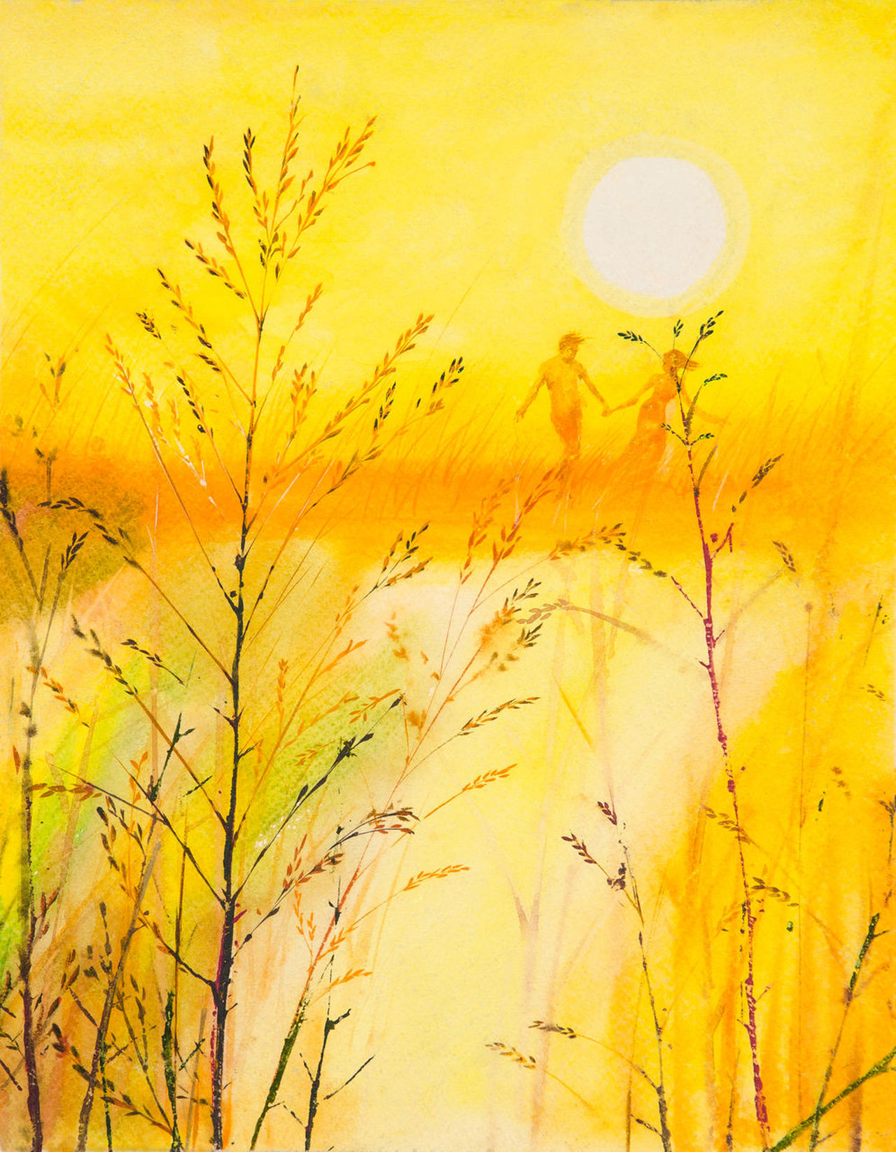Watercolor illustration of a beautiful bright warm sunshine. Young couples, cling to the meadows with delight. Fun and cheerful like bird that squawks. Atmosphere in the blazing mid-summer. Aesthetic Couples Daylight First Love Freedom Happiness Hay Illustration Art Lovers Meadow Painting Art Pleasure Romance Scene Shades Of Warm Colors Summer Sunlight Sunset The Late Afternoon Vividness Yellow Tone Color