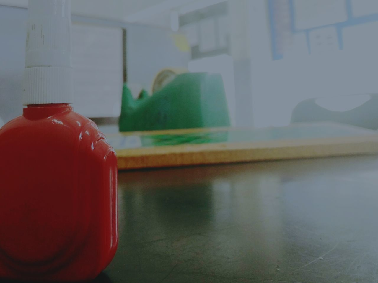 indoors, red, table, focus on foreground, home interior, close-up, no people, technology, day