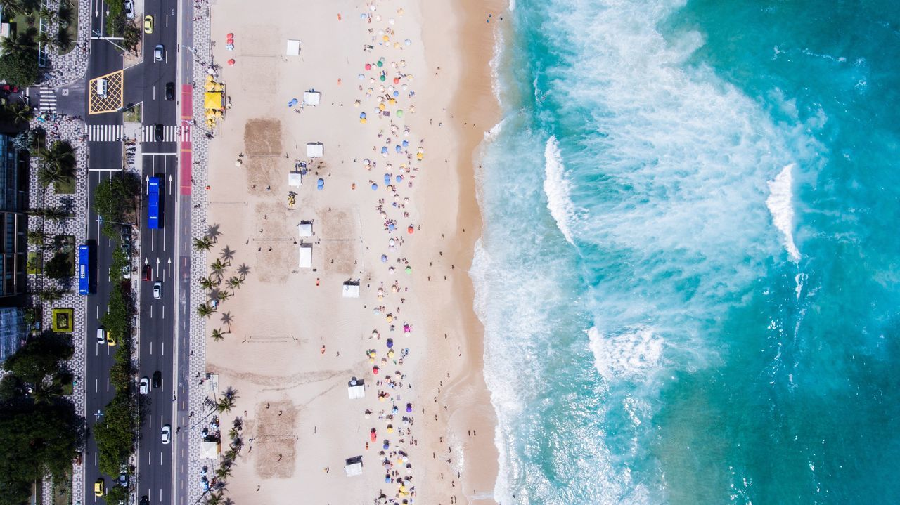 Aerial View Of Street Beach And Sea
