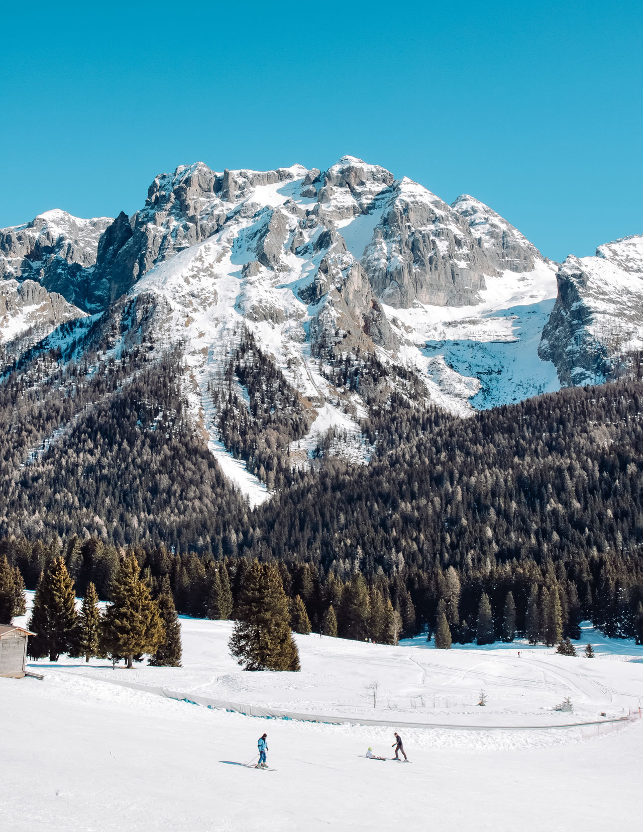 Beauty In Nature Blue Bluesky Clear Sky Cold Temperature Dolomites, Italy Frozen Landscape Leisure Activity Mountain Mountain Range Mountain View Nature Non-urban Scene Outdoors Scenics Ski Holiday Skiing Snow Snow Mountain Snow Walk Snowcapped Mountain The Great Outdoors - 2017 EyeEm Awards Tranquility Winter