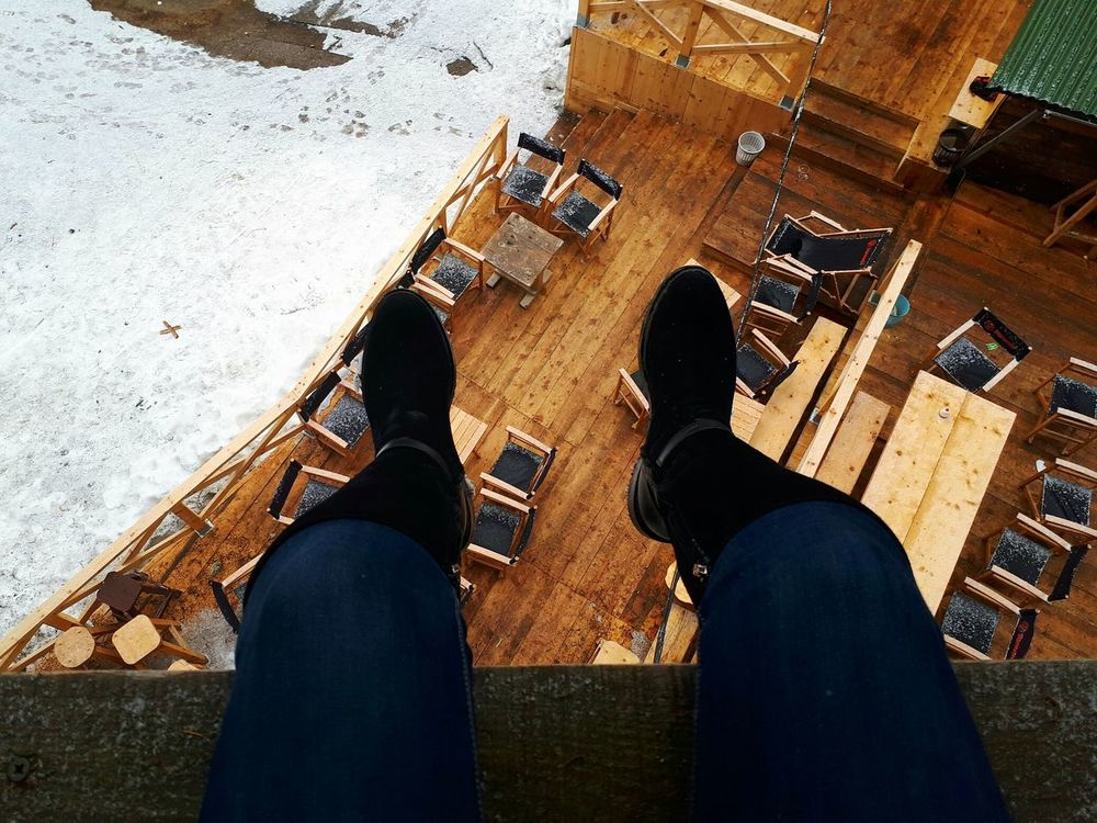 Human Leg Personal Perspective High Angle View Outdoors Day Tranquility Wood Tree Kopaonik, Serbia Winter Mountain Beauty In Nature Treehouse Silence Of Nature
