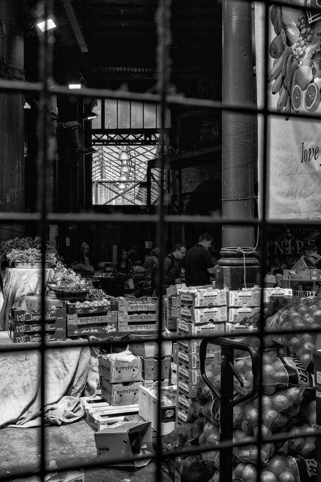 Black & White Borough Market, London Crates Day Fence Lifestyles London People Shadows Shopping Southwark  Storage Street Photography Urban
