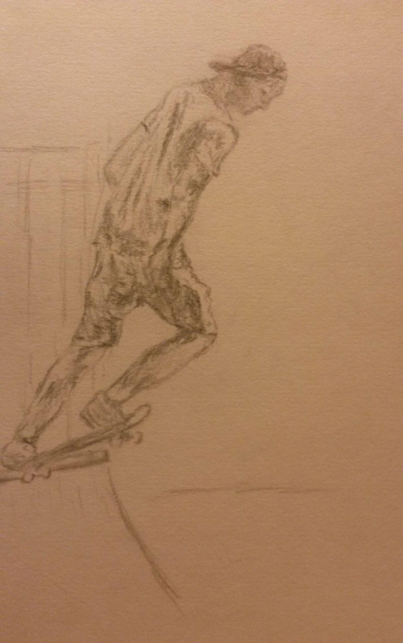 Inspired by @nickdevisser Sketch Skateboarding Drawing GraphitePencil