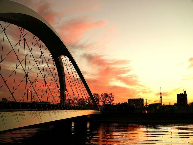 Sunset Water River Reflection Bridge Skytree Tokyoskytree Japan Tokyo Sunsets Tower Evening Glow Fireinthesky