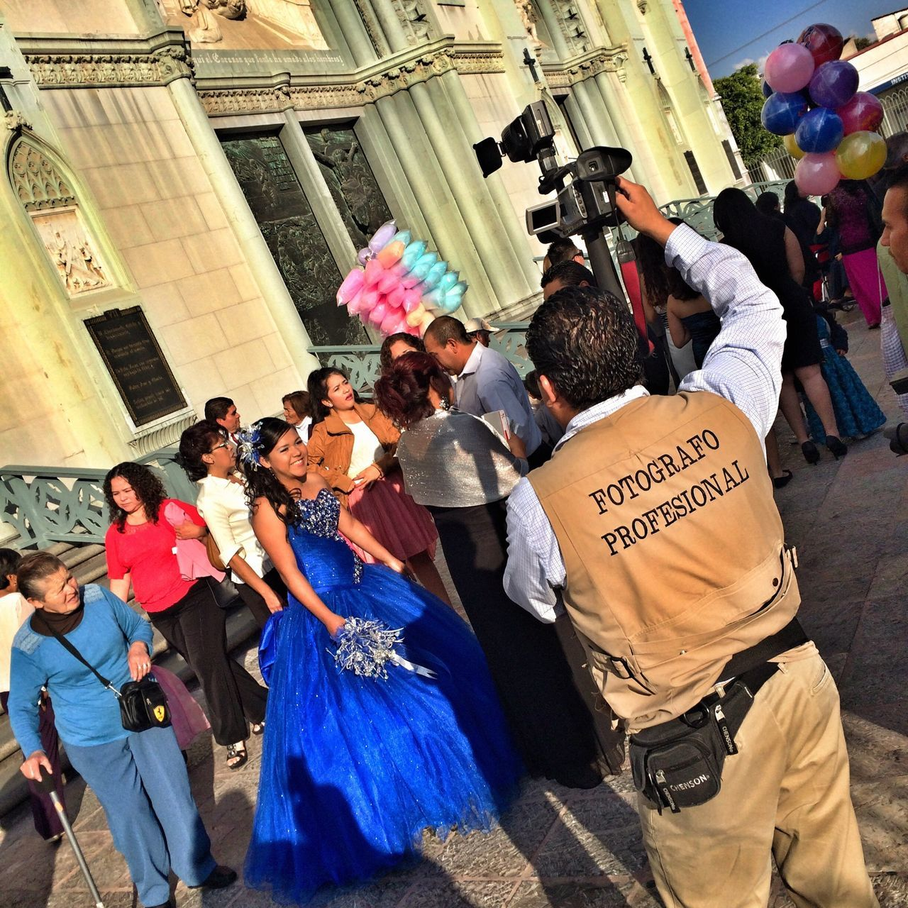 Streetphotograhy Eye4photography  Quinciañera Photojournalism Onassignment Latin America Guanajuato, México IPhoneography Mexico Urban Photography A man taking video of a #quinceañera wearing a vest that says Professional #Photographer. / Un hombre tomando video de la celebracion de quinciañera usando un chaleco que dice #Fotografo Profesional. #OnAssignment #Leon #Guanajuato #Mexico #EverydayMexico #LatinAmerica #EverydayLatinAmerica #iphoneography #Eye4photography #photojournalism #streetphotography #NorthAmerica #JuanCarlos #2015copyright My Best Photo 2015 The Street Photographer The Street Photographer - 2017 EyeEm Awards