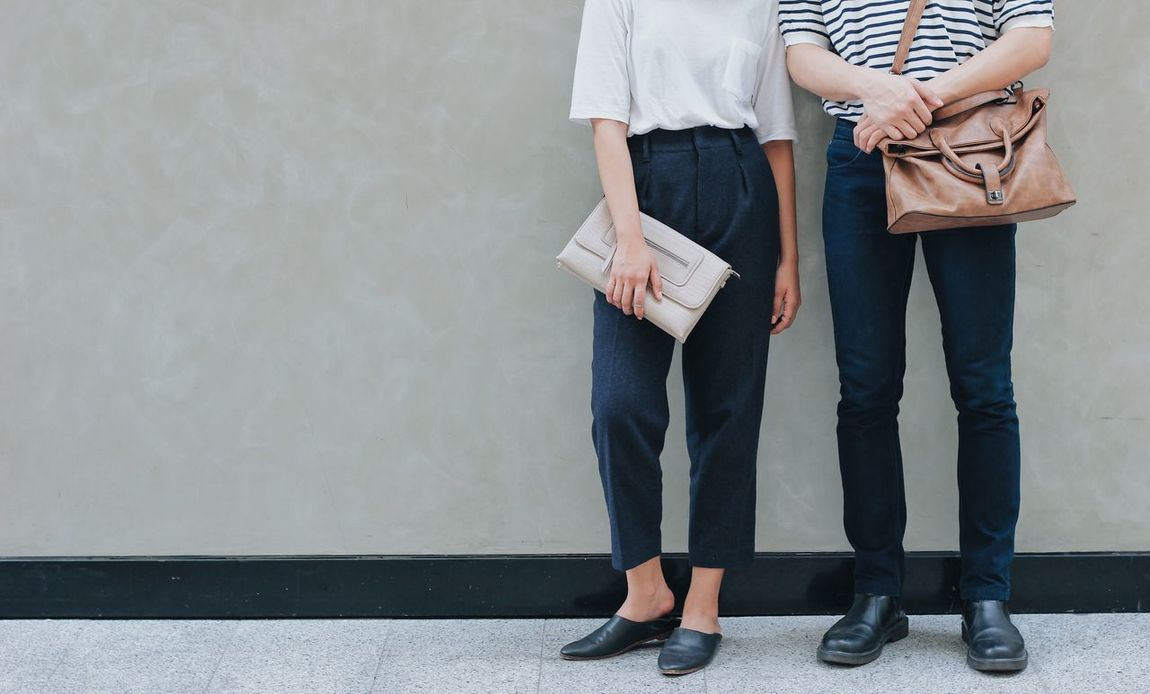 Two People Standing Holding Women Togetherness Adults Only Hipster Adult Young Women People Low Section Young Adult Fashion Bag Style Stylish Minimal Dress Outdoors Copy Space Couple Lifestyles Trendy Casual Clothing Day