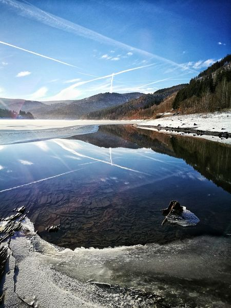Good morning friends 🌞, have a wonderful weekend 🖖 Reflection Water Lake Sky Outdoors No People Nature Day Snow ❄ Frozen Cold Temperature Landscape Mountain Beauty In Nature