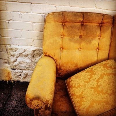 Abandoned Brick Wall Close-up Couch Day Derelict Floral Floral Couch Floral Print Gold Colored No People Old Street Yellow