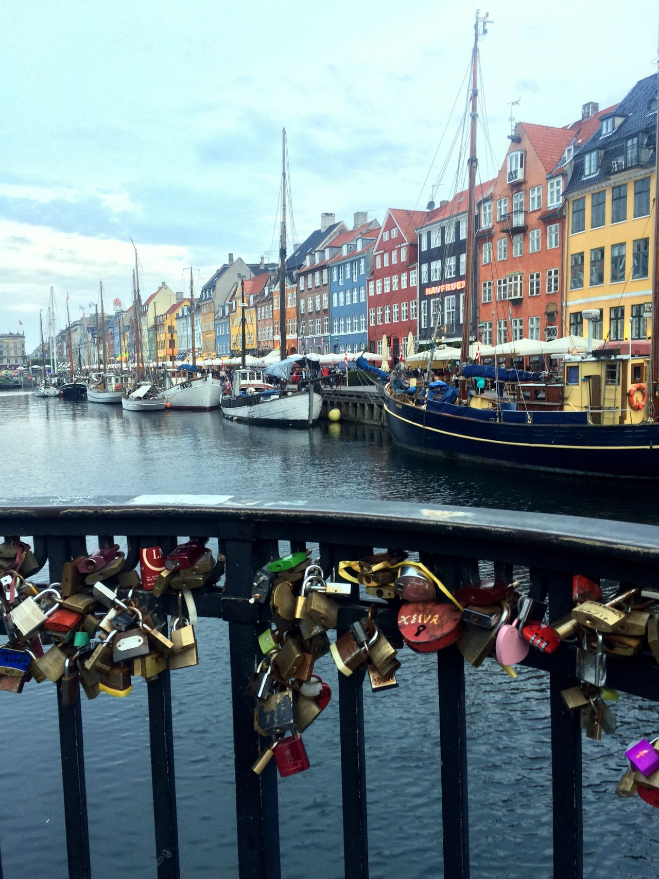 Padlock Railing Love Lock Security Lock Built Structure Copenhagen Nyhavn Nyhavnport Waterfront Nautical Vessel Canal Safety Bridge - Man Made Structure Building Exterior Protection Water Love River Metal Transportation Day Connection Outdoors Sky EyeEm Selects