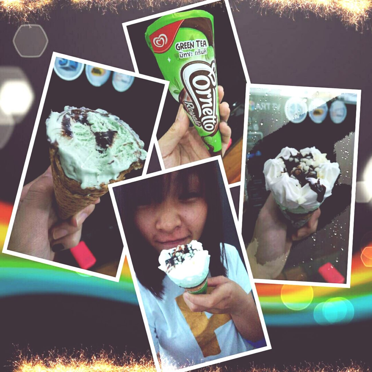 周末 當保母. Green Tea 冰淇淋 奇怪的味道 :))))))))))