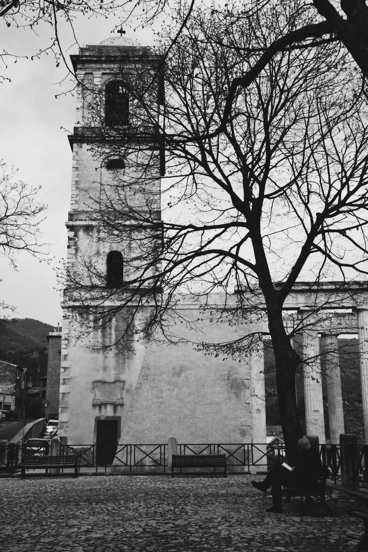 Architecture B&w Bare Tree Black & White Blackandwhite Blackandwhite Photography Branch Building Exterior Built Structure Cori Day Full Length Italy Lifestyles Men One Person Outdoors People Real People Rear View Sky Tempio Tree