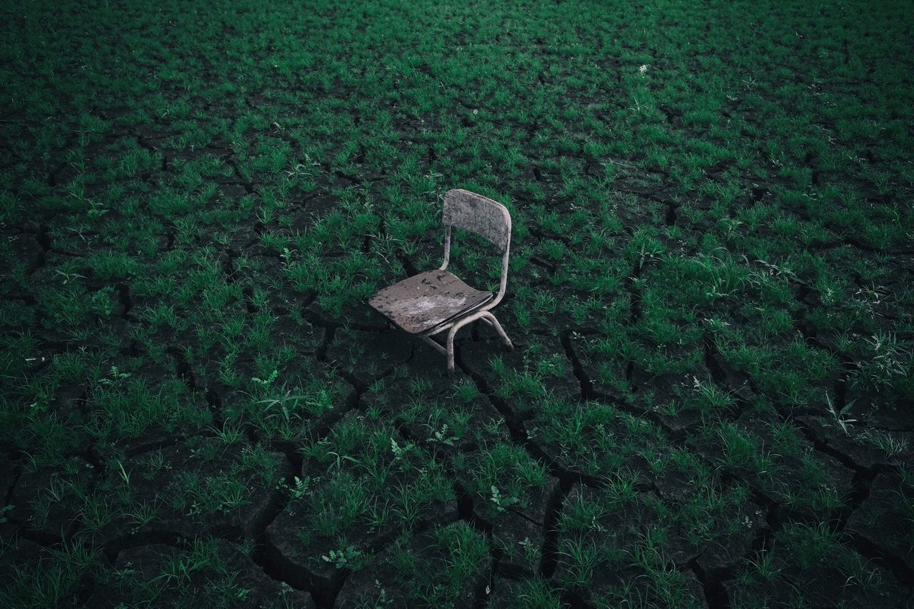 Chair Green color Field landscape VSCO anseong x70 South Korea