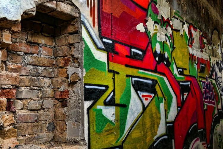 Architecture Brick Wall Close-up Grafitto Lostplace Multi Colored No People
