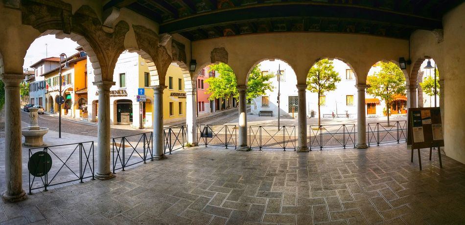 Porcia Pordenone Friuli Venezia Giulia Italy Travel Photography Travel Voyage Traveling Mobile Photography Fine Art Backlight Panoramic Views Architecture Loggias Arcades Pavements Railings Reflections And Shadows Showcase July