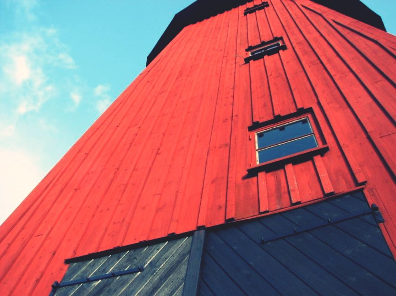low angle view, building exterior, built structure, architecture, red, window, outdoors, day, no people, sky, close-up