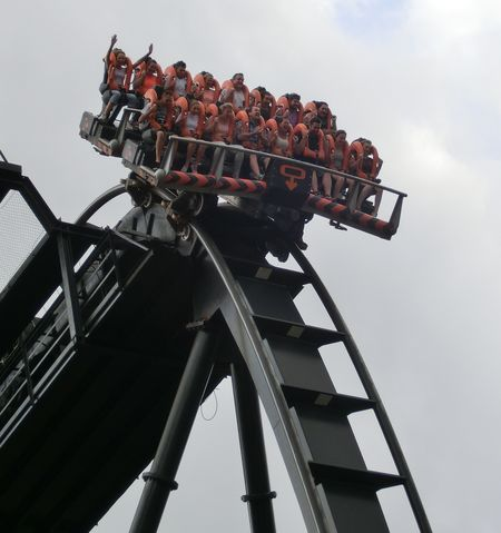 AltonTowers Closeup Drop Oblivion Ride Roller Coaster Scared Theme Park Tilt