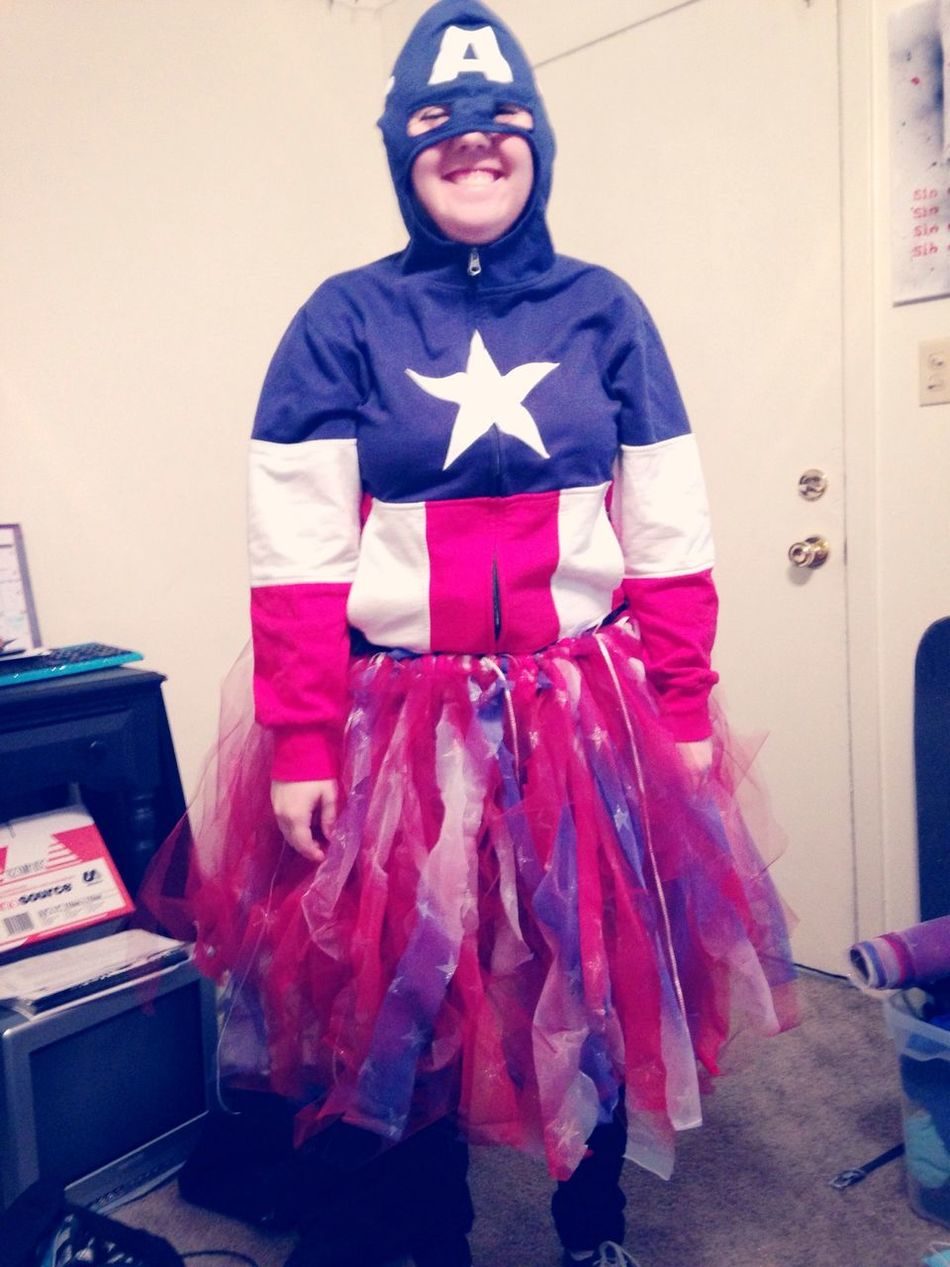 A little late, but this was L's Halloween costume for work! Captain America