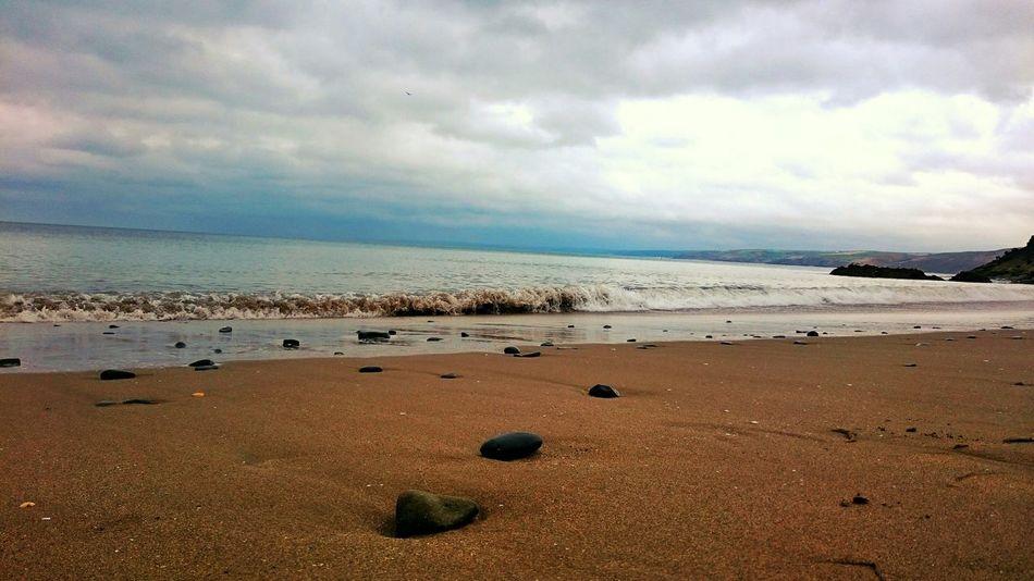 Beach Waves Sand Stones British Beaches Enjoying Life Sky New Quay West Wales Wales