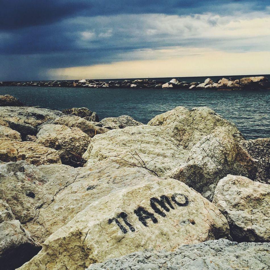 Sea Water Ti Amo Rocks Clouds