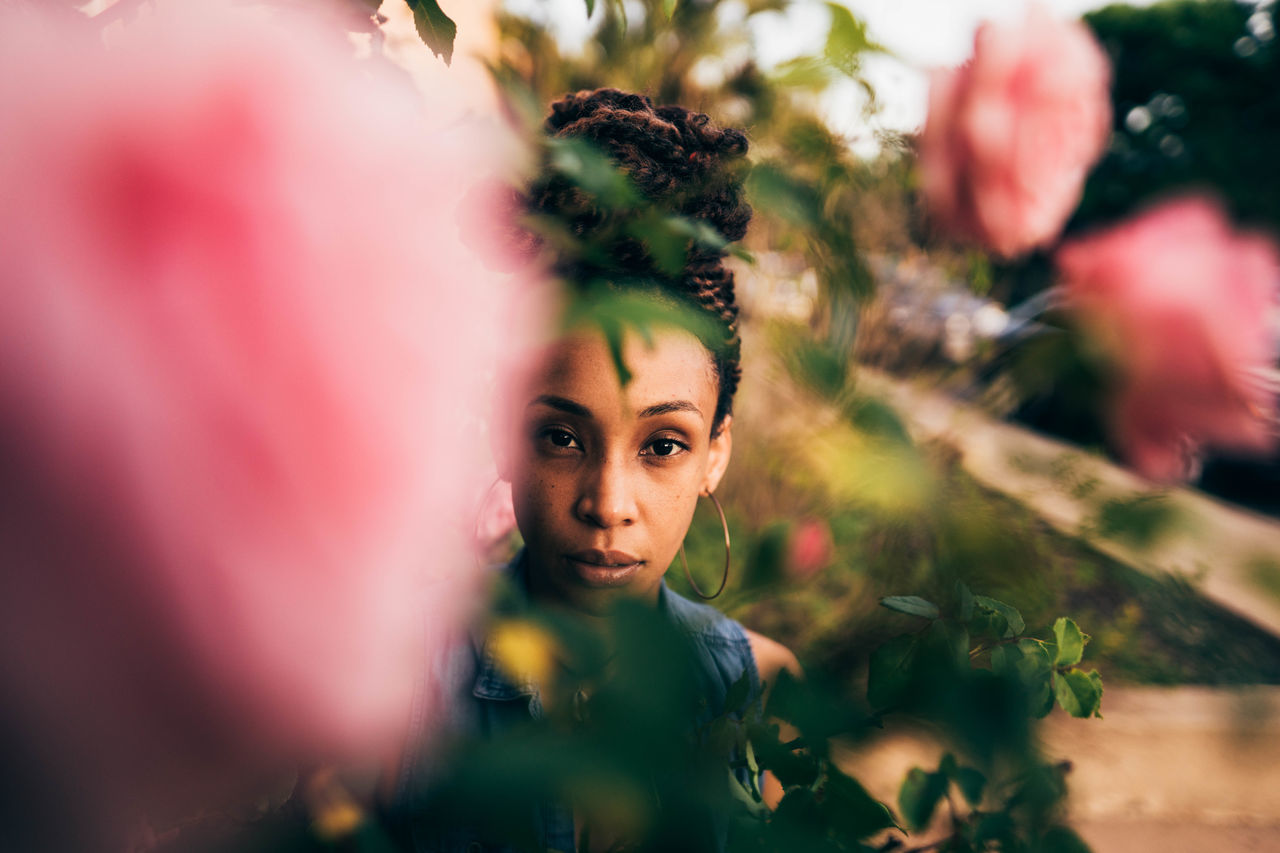 Millennial Pink Contemplation Portrait Women Human Face Beauty One Person Human Body Part Outdoors Flower People Adult Multi Colored Tree Young Adult Young Women One Woman Only Nature Close-up Day Portraits